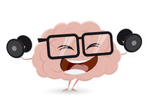Funny brain training with dumbbells Royalty Free Stock Photography