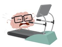 Funny brain training on a treadmill. Clipart of a funny brain training on a treadmill Stock Photos