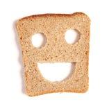 Funny bread slice on white Stock Photos