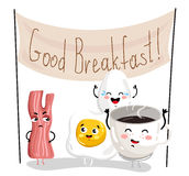 Funny breakfast cartoon character set Royalty Free Stock Images