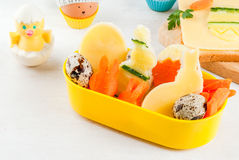 Funny breakfast or dinner for a child at Easter Royalty Free Stock Photography