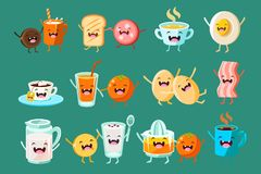 Funny breakfast food comic characters sett, food with funny faces vector Illustrations. On a jade green background Royalty Free Stock Images