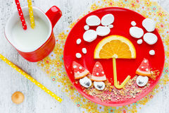 Funny breakfast idea for kids - marshmallow with fruit and cooki Stock Photos