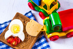 Funny breakfast for kid Stock Images