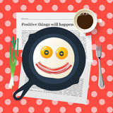 Funny breakfast, smiling face make with fried eggs Stock Photo