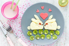 Funny breakfast on Valentines Day - cheese sandwich shaped cute Royalty Free Stock Photography