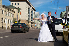 Funny bride and groom catch taxi on the street royalty free stock photography