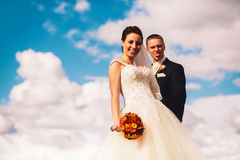 Funny bride and groom on clouds background Royalty Free Stock Images