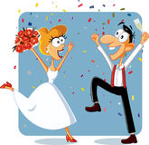 Funny Bride and Groom Dancing at their Wedding Vector Stock Photo