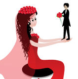 Funny bride and groom. The groom gives the bride a bouquet of flowers vector illustration