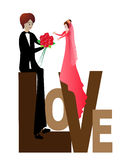 Funny bride and groom. The groom gives the bride a bouquet of flowers stock illustration
