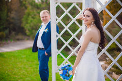 Funny bride and groom with Mr Mrs . Happy wedding day Ukraine. Funny bride groom with Mr and Mrs . Happy wedding day stock photos