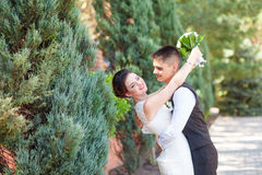 Funny bride and groom Stock Photography