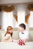 Funny bride and groom Stock Photos