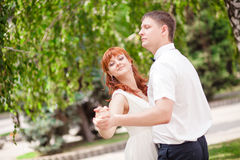 Funny bride and groom Stock Image