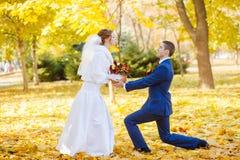 Funny bride and groom wedding Stock Image