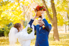 Funny bride and groom wedding Stock Photo