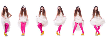 Funny bride isolated on the white Royalty Free Stock Photography