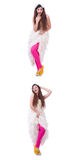 The funny bride isolated on the white Stock Photo