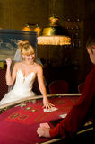 Funny bride playing cards stock images