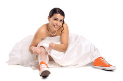 Funny bride shoes Stock Image