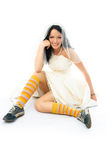 Funny bride wearing old blue running shoes Stock Photography