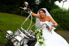 Bride on Harley Davidson bike Stock Photos