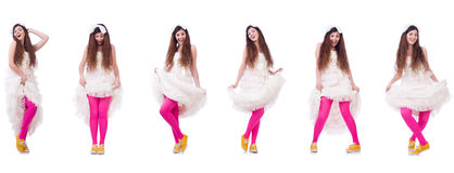 The funny bride  on the white Royalty Free Stock Photography