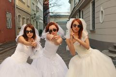 Funny brides Stock Photo