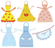 Funny bright aprons set royalty free illustration