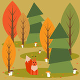 Funny bright colored cartoon autumn forest with animals. And mushrooms Royalty Free Stock Photo