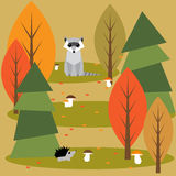 Funny bright colored cartoon autumn forest with animals Royalty Free Stock Image