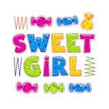 Funny bright vector illustration for girls royalty free illustration