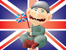 Funny British soldier. Layered and grouped illustration for easy editing Royalty Free Stock Image