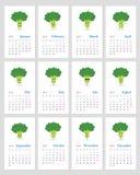 Funny broccoli calendar 2019. Cute monthly calendar 2019 year with happy broccoli emojis. Week starts on Monday royalty free illustration
