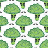 Funny broccoli cartoon seamless pattern. Vegan food. Hipster broccoli with mustache print Stock Photo