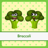 Funny brocoli character on yellow background Royalty Free Stock Images