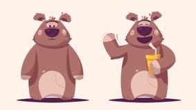 Funny brown bear character. Cartoon vector illustration royalty free stock photo