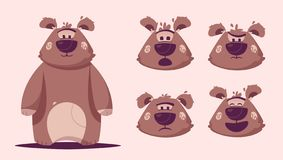 Funny brown bear character. Cartoon vector illustration stock image