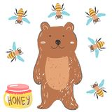 Funny brown bear with honey and bees. Illustration about animals for children design. Cartoon style.  royalty free illustration