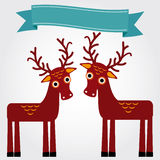Funny brown deer on a white background. Vintage label. Vector Stock Photos
