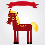 Funny brown horse on a white background. Vintage label. Vector Royalty Free Stock Image