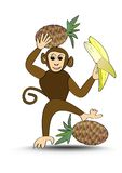 Funny brown monkey with pineapple and banana, monkey cartoon useful as advertising for sale of fruit, isolated chimpanzee on white Royalty Free Stock Photos