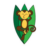 Funny brown monkey relaxes at green leaves royalty free stock image