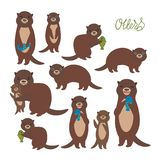 Funny brown otter collection on white background. Kawaii. Vector illustration vector illustration