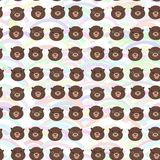 Funny brown otters on pink sky blue orange waves. Seamless pattern, white background. Kawaii. Vector illustration royalty free stock photo