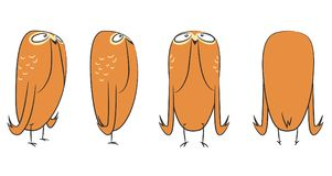 Funny brown owl character design. Character design turnaround for animation - Brown owl in 4 different poses. Vector cartoon illustration in simplistic style Stock Photo