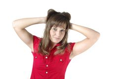 Funny brunette isolated Stock Photography