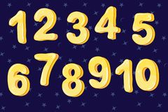 Funny bubble cartoon font yellow color of numbers from one to ten. Vector illustration vector illustration