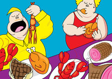 Funny buffet party pig out cartoon Stock Photo